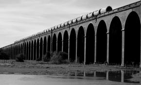 train on Viaduct in B&W