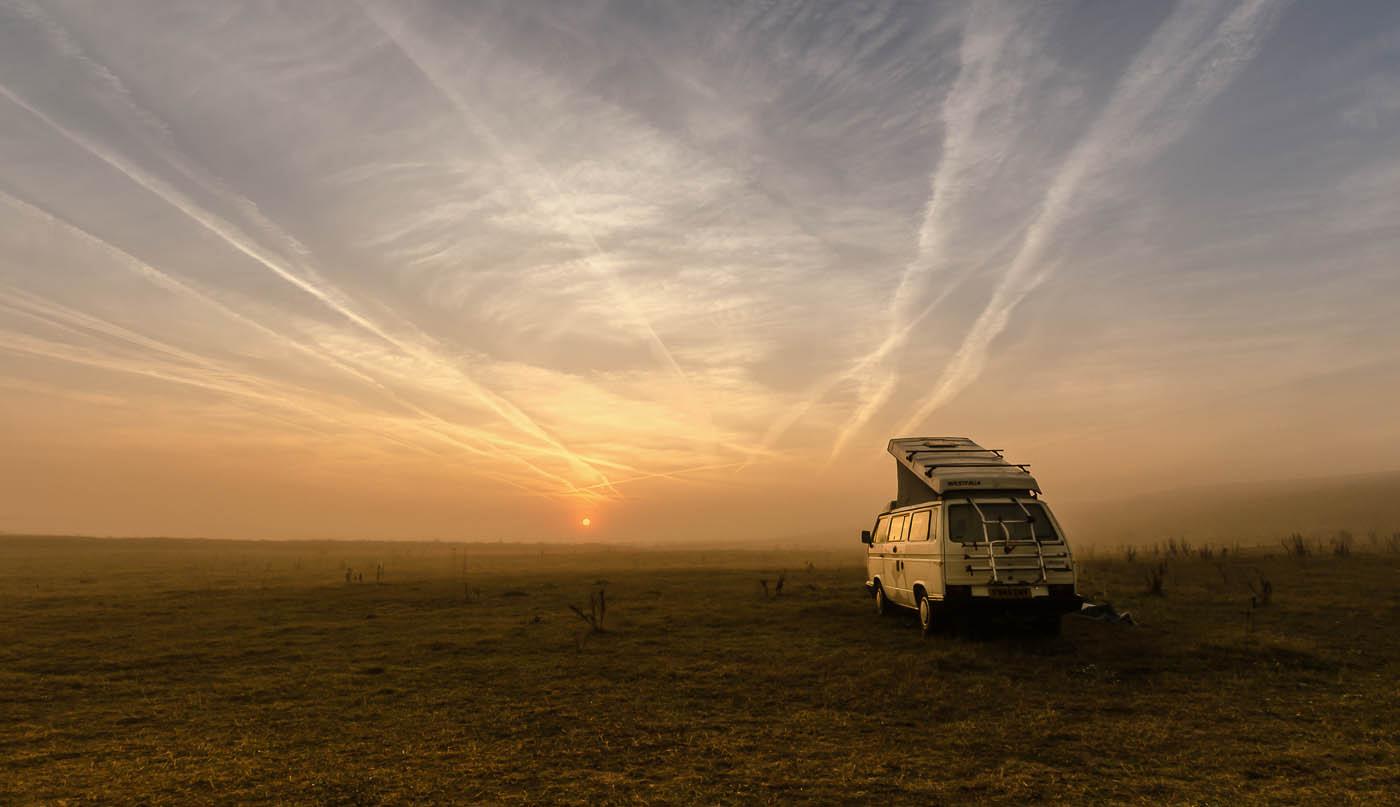 Campervan at dawn